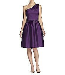 One-Shoulder Cocktail Length Peau de Soie Dress - Alfred Sung D530