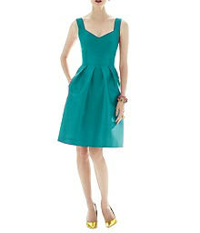 Cocktail Length Sleeveless Twill Dress - Alfred Sung D658