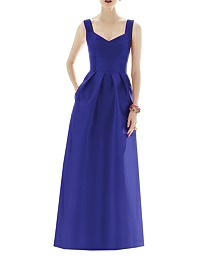 Full Length Sleeveless Twill Dress - Alfred Sung D659