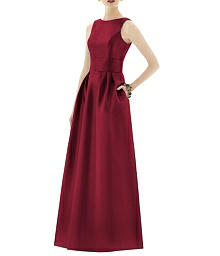 Inset Midriff Full Length Sateen Dress - Alfred Sung D661