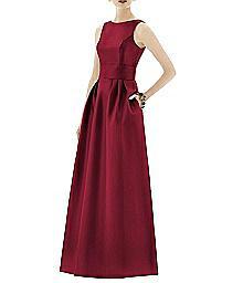 Inset Midriff Full Length Sateen Dress - Alfred Sung D661