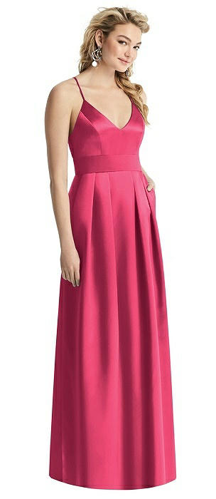 V-Neck Pleated Satin Gown with Pockets