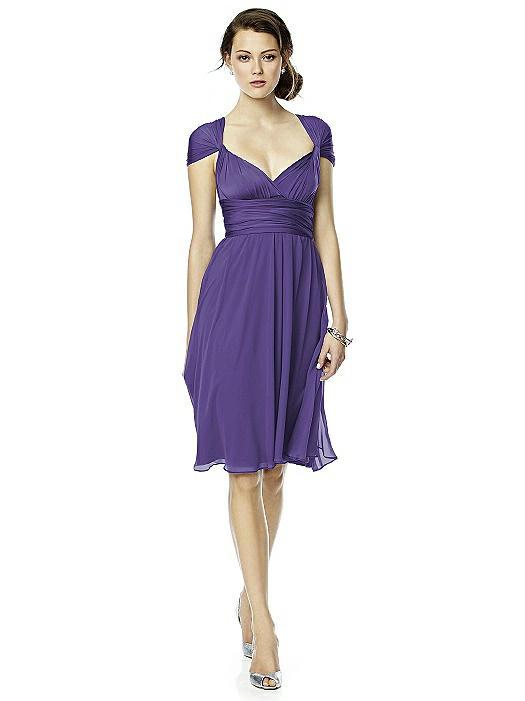 Twist Wrap Dress w/ Chiffon Overskirt: Short