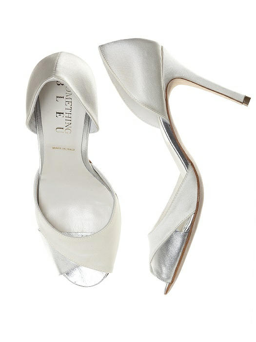 Curvey Satin and Silver Bridal Pump On Sale