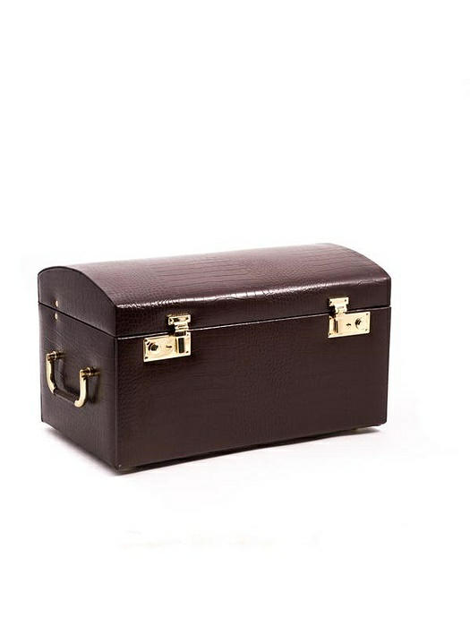 "Large Brown ""Croco"" Leather Jewelry Chest"