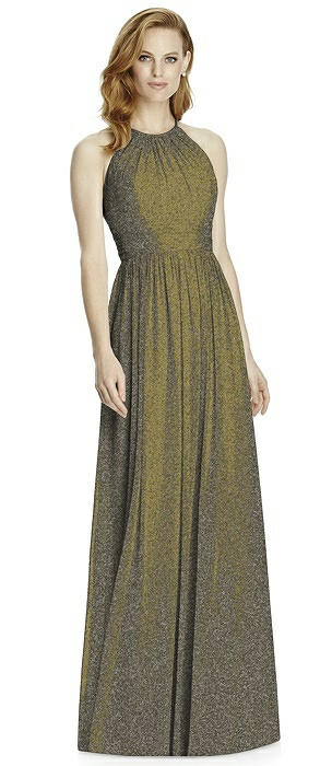 Studio Design Long Halter Shimmer Bridesmaid Dress 4511LS