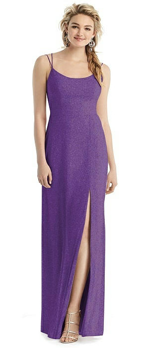 Shimmer Side Slit Cowl-Back Gown