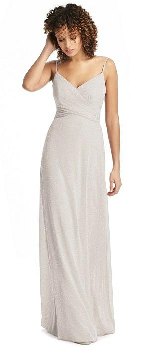 Shimmer Faux Wrap Chiffon Dress