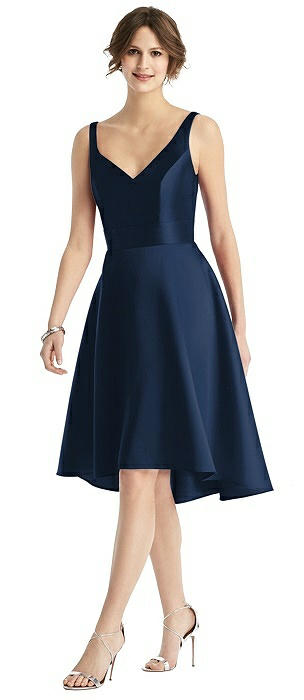 V-Neck Sateen High-Low Cocktail Dress