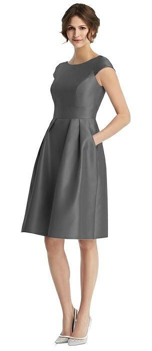 Cap Sleeve Pleated Cocktail Dress with Pockets