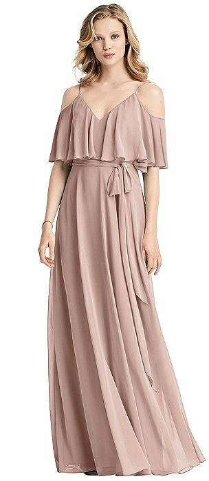 Chiffon V-Neckline Ruffle Dress