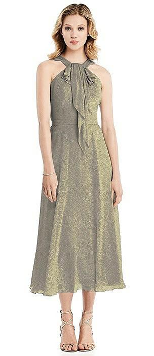 Shimmer Ruffle Halter Midi Dress