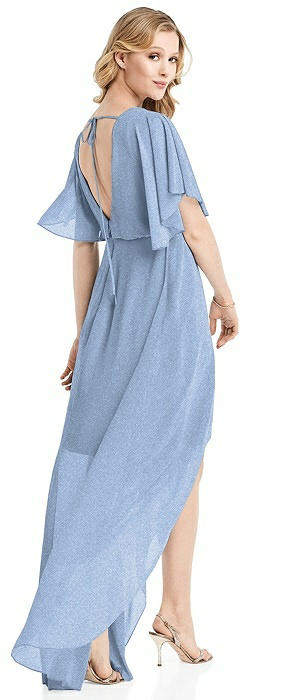 Flutter Sleeve High-Low Shimmer Cocktail Dress