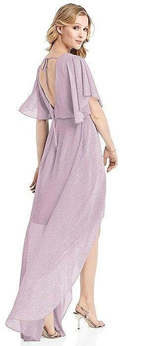 Flutter Sleeve High-Low Shimmer Cocktail Dress