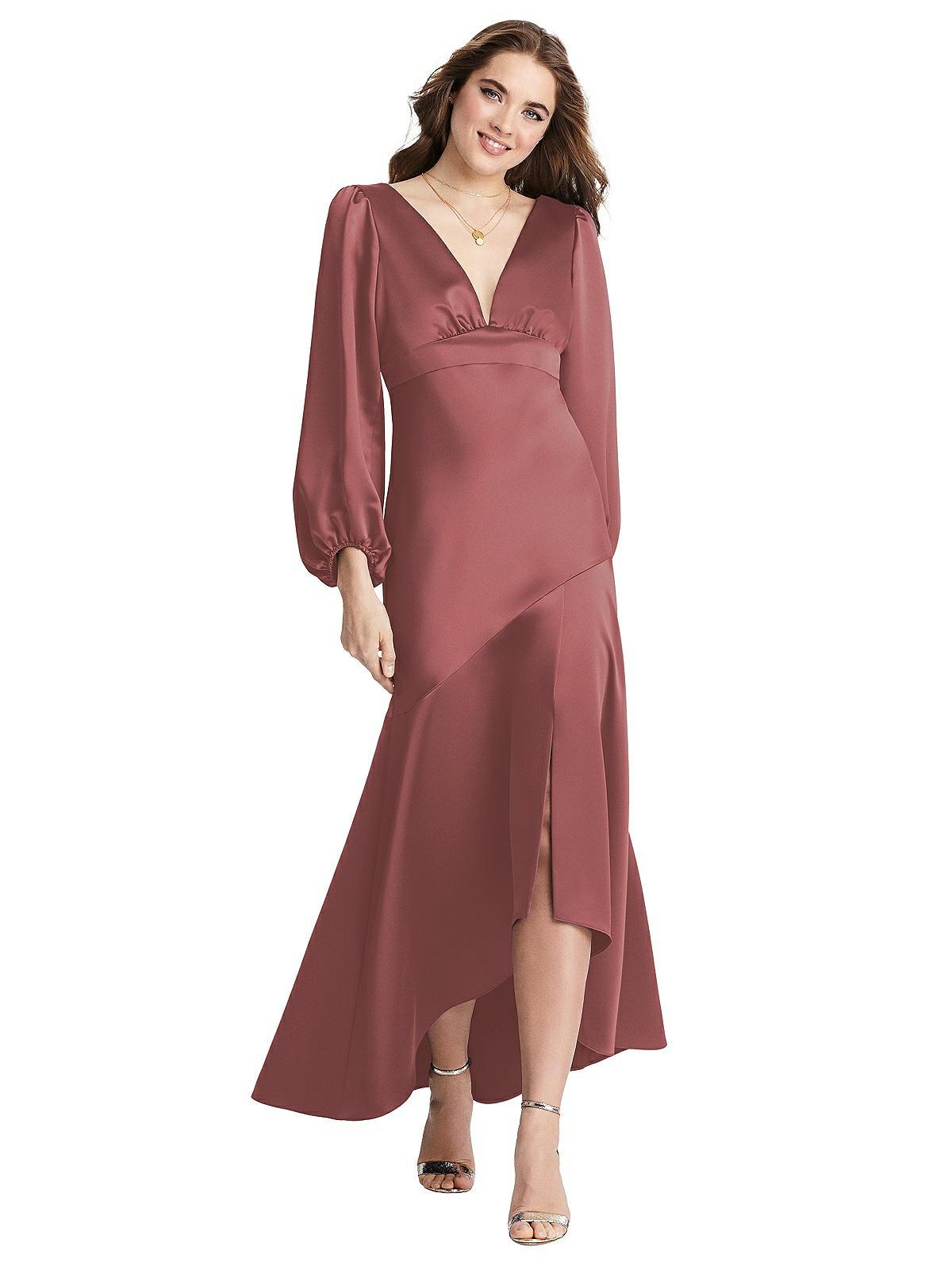 Special Order Puff Sleeve Asymmetrical Drop Waist High-Low Slip Dress - Teagan