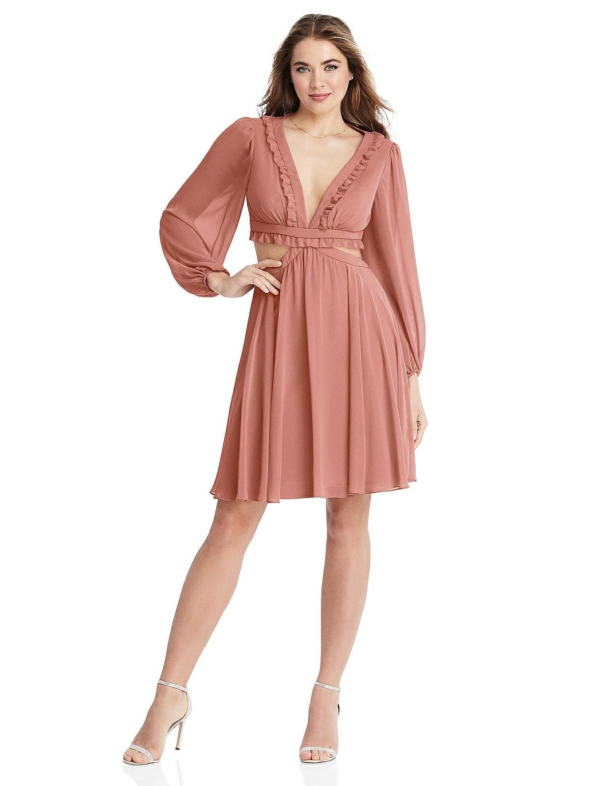 Special Order Bishop Sleeve Ruffled Chiffon Cutout Mini Dress - Hannah
