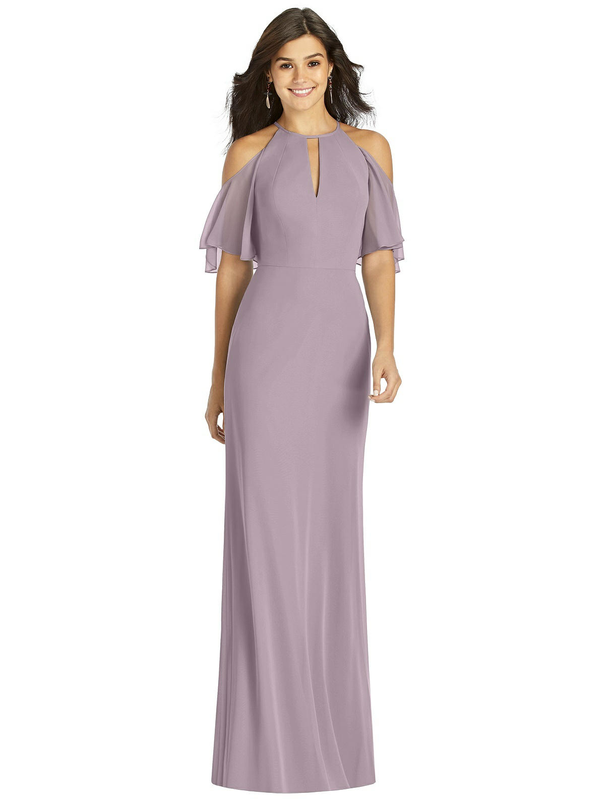 Plus Women Ruffle Bell Sleeve Mermaid Maxi Dress Cutout Cold Shoulder Gown