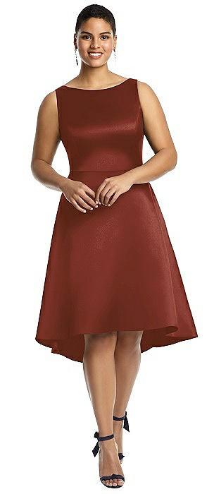 Bateau Neck Satin High Low Cocktail Dress