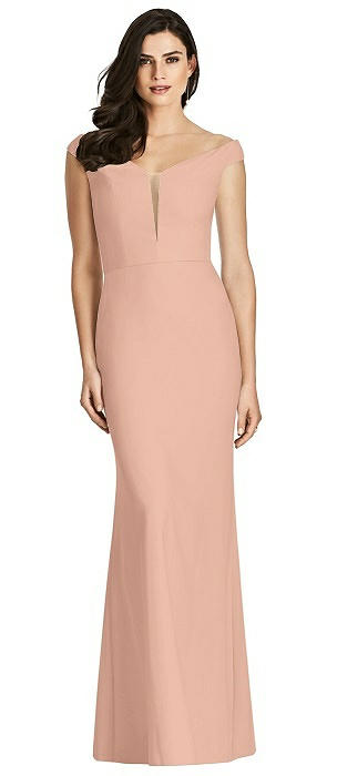 Off-the-Shoulder Deep Notch Trumpet Gown