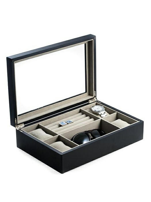 Matte Black Wood Valet and Watch Box with Glass Top