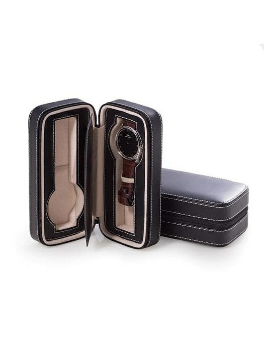 Black Leather Two Watch Travel Case with Form Fit Compartments