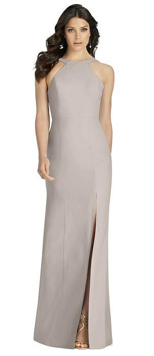 High-Neck Backless Crepe Trumpet Gown