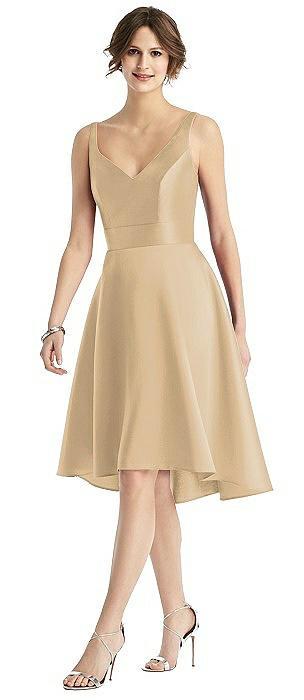 Sleeveless V-Neck Satin High Low Cocktail Dress