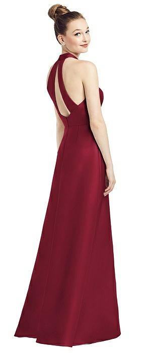 High-Neck Cutout Satin Dress with Pockets