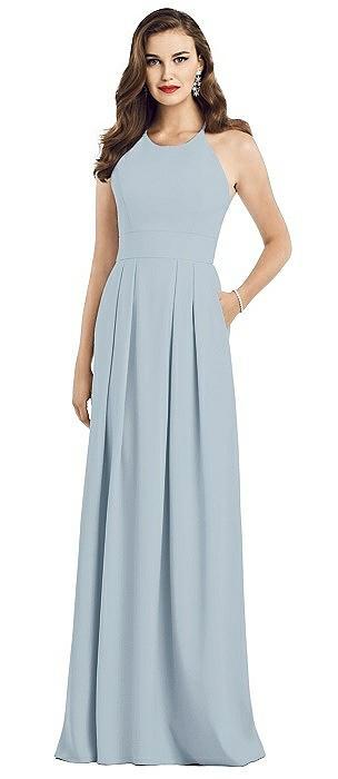 Criss Cross Back Crepe Halter Dress with Pockets