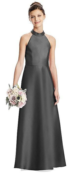 Halter Open-back Satin Juniors Dress with Pockets
