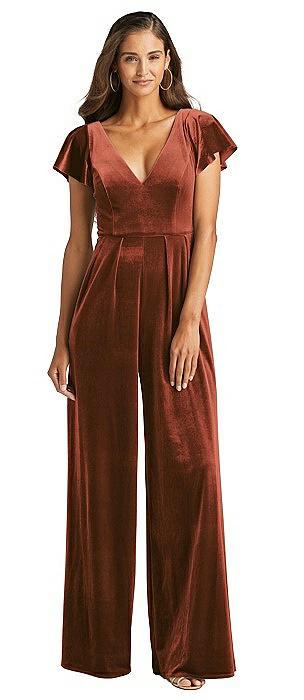 Flutter Sleeve Velvet Jumpsuit with Pockets