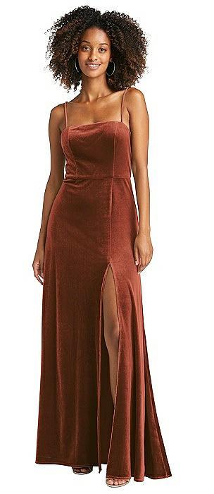 Square Neck Velvet Maxi Dress with Front Slit