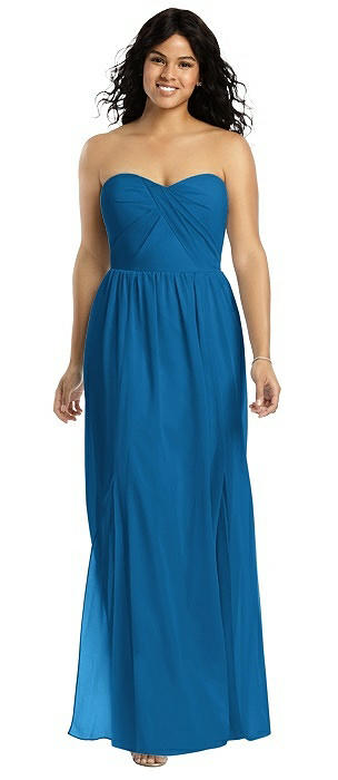 Strapless Draped Bodice Maxi Dress with Front Slits