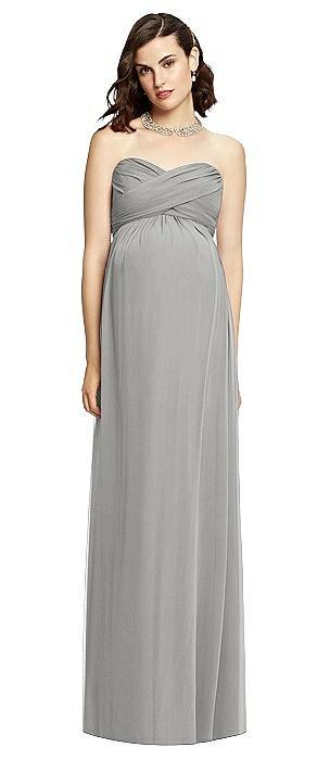 Draped Bodice Strapless Maternity Dress
