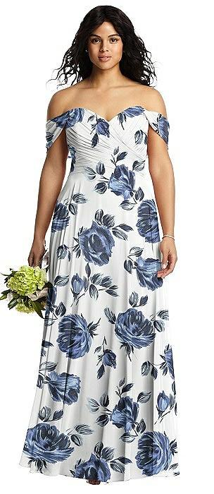 Off-the-Shoulder Draped Chiffon Maxi Dress