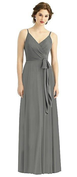 Draped Wrap Chiffon Maxi Dress with Sash