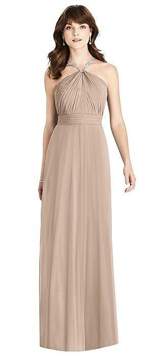 Jeweled Twist Halter Maxi Dress