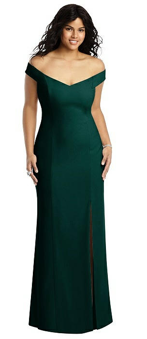 Off-the-Shoulder Criss Cross Back Trumpet Gown