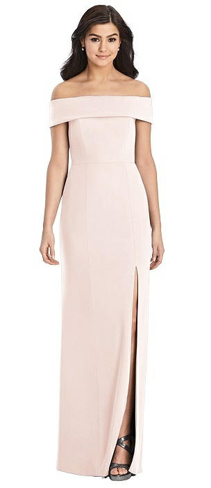 Cuffed Off-the-Shoulder Trumpet Gown