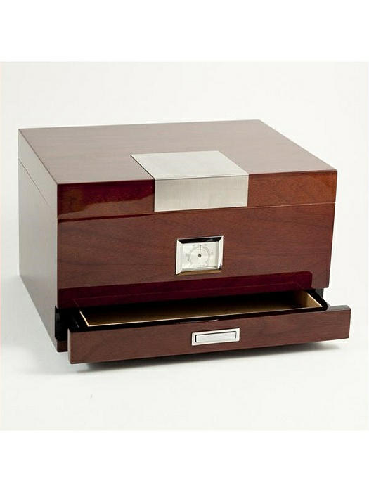 Walnut Humidor with Accessories Drawer