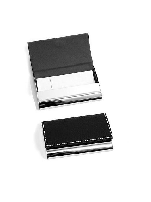 Black Leather Business Card Case with Magnetic Lid