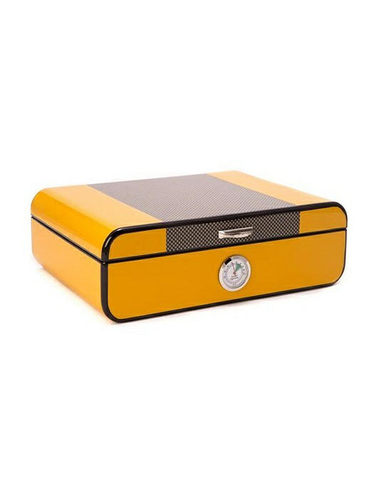 """Carbon Fiber"" & Yellow Lacquered 25 Cigar Humidor"