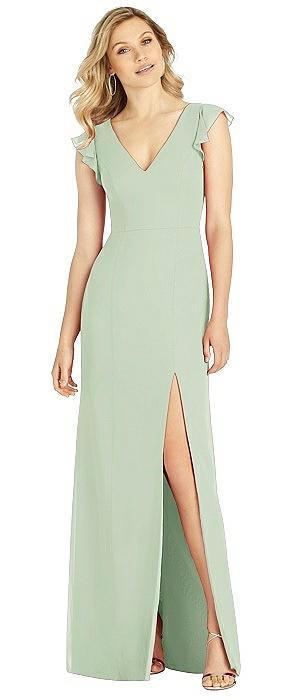 Ruffled Sleeve Mermaid Dress with Front Slit