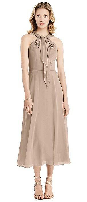 Ruffle Halter Chiffon Midi Dress