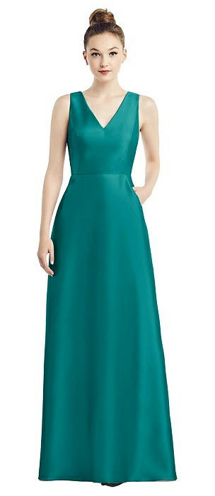Sleeveless V-Neck Satin Dress with Pockets
