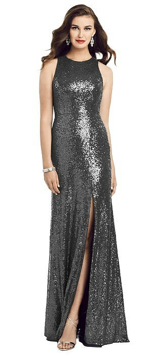 Long Sequin Sleeveless Gown with Front Slit