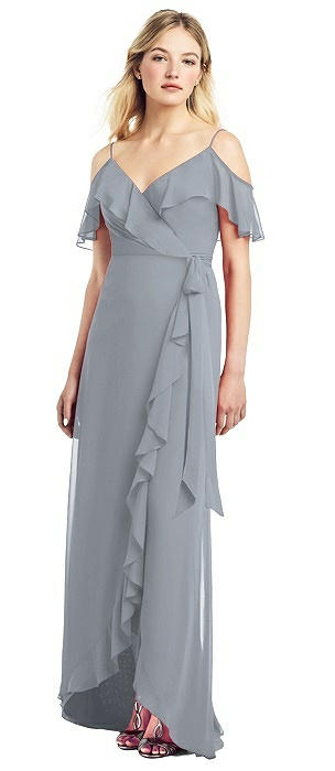 High Low Ruffle-Trimmed Chiffon Wrap Dress