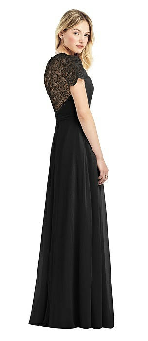 Cap Sleeve Jewel-Neck Lace and Chiffon Gown