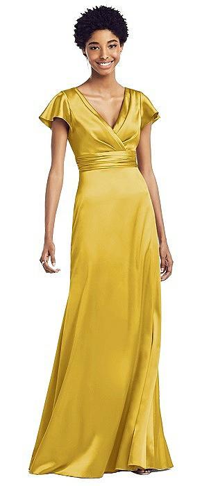 Flutter Sleeve Draped Wrap Stretch Maxi Dress