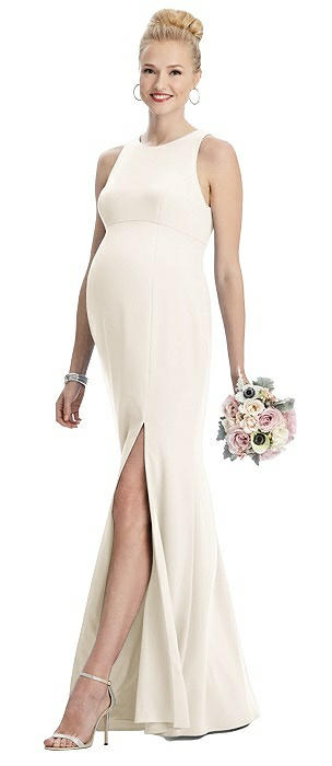 Sleeveless Halter Maternity Dress with Front Slit